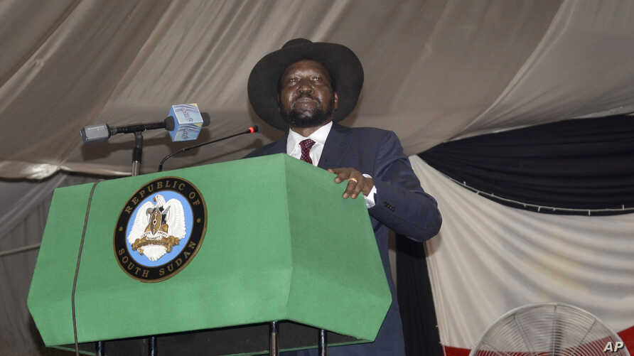 South Sudan President Salva Kiir voices his reservations before signing a peace deal in the capital Juba, South Sudan, Aug. 26, 2015.