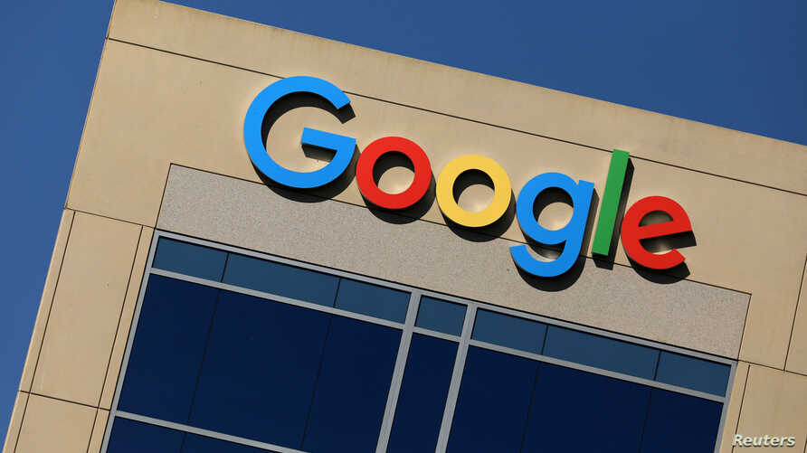 The Google logo is pictured atop an office building in Irvine, California,  Aug. 7, 2017.