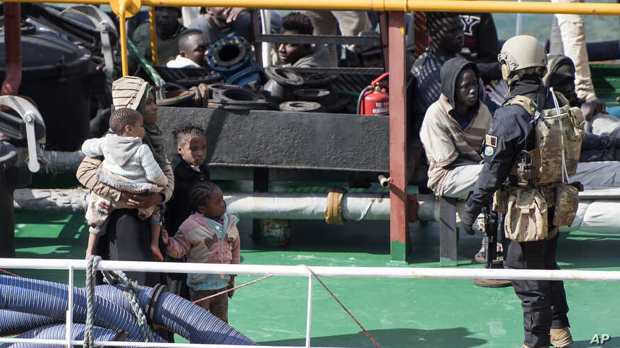 Armed forces stand aboard the Turkish oil tanker El Hiblu 1, which was hijacked by migrants, in Valletta, Malta, March 28, 2019.
