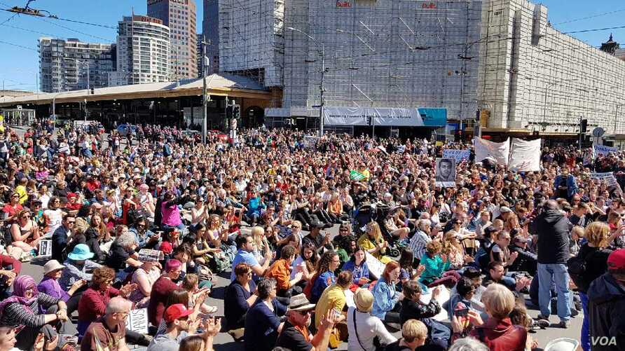 A demonstration in Melbourne, Australia, drew a crowd of about 3,000.