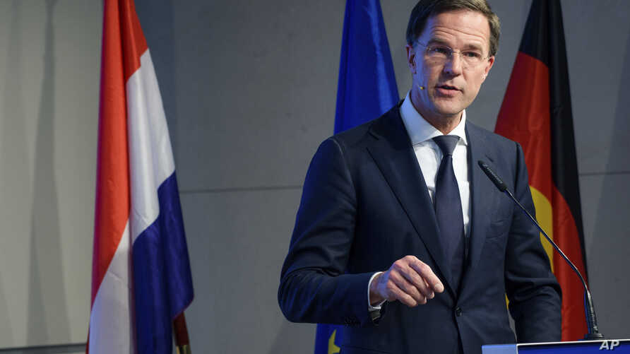 Dutch Prime Minister Mark Rutte speaks at an event of the Bertelsmann foundation in Berlin, March 2,  2018.