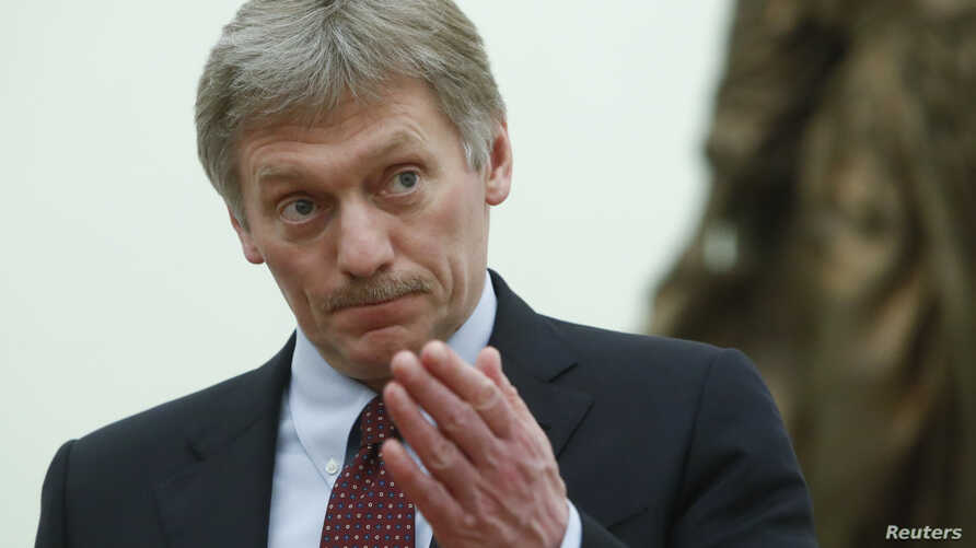 Kremlin spokesman Dmitry Peskov attends a meeting of Russian President Vladimir Putin at the Kremlin in Moscow, March 26, 2018.