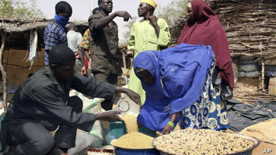 A Nigerien vendor, left, measures out millet, which has doubled in price in the local market, for a client in the village of Tamou, 60 kilometers outside Niamey, Niger, (File)