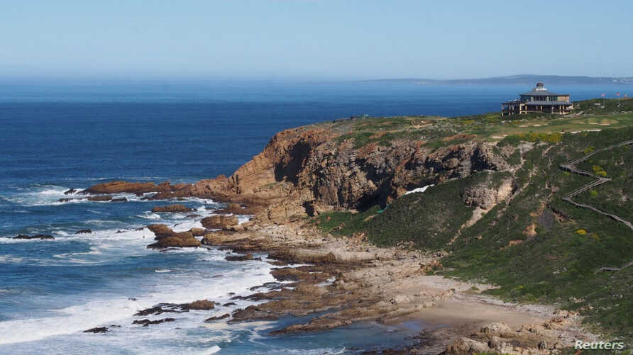 The Pinnacle Point archeological locality on the south coast of South Africa, a rock shelter, called PP5-6, used by humans from about 90,000 to 50,000 years ago, near the town of Mossel Bay viewed from the northeast is seen in this 2014 photo release