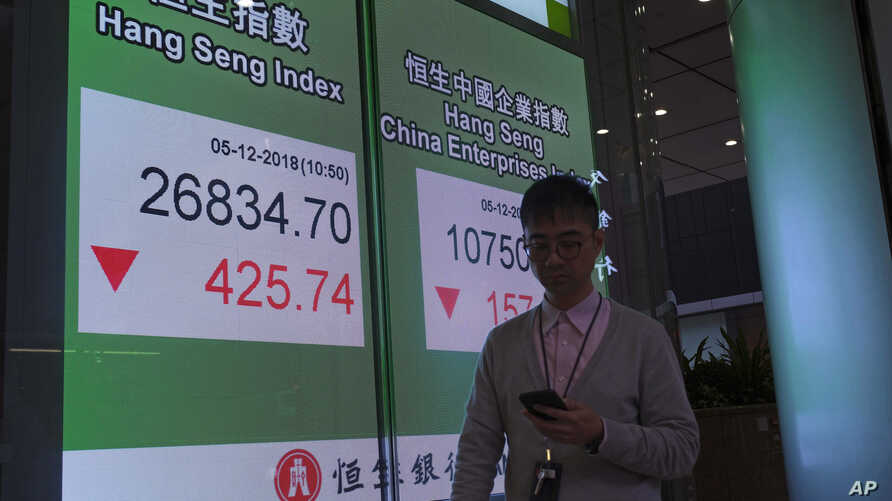 A man walks past an electronic board showing Hong Kong share index outside a local bank in Hong Kong, Wednesday, Dec. 5, 2018.