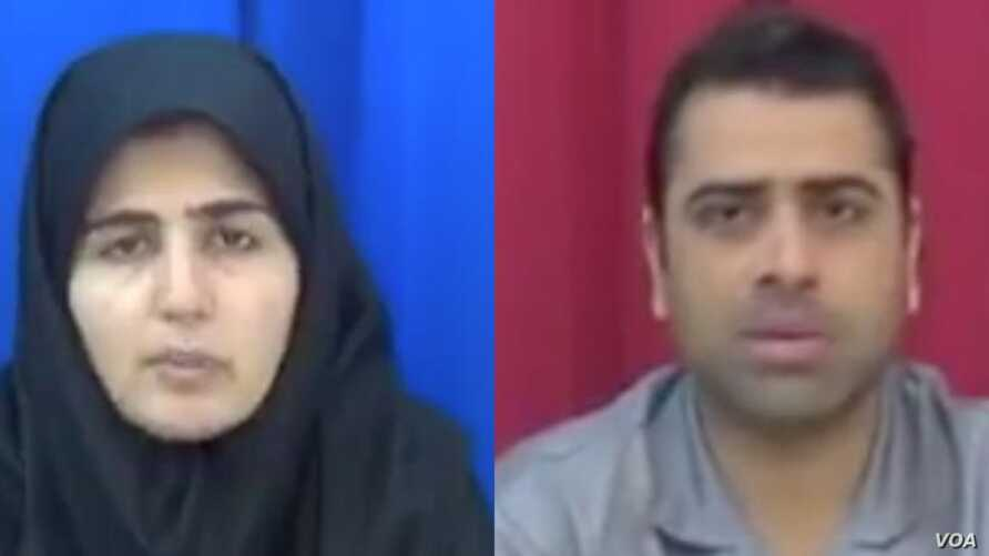 """Iranian labor rights activists Sepideh Gholian and Esmail Bakhshi appear in a screen shot of an Islamic Republic of Iran Broadcasting documentary """"Tarahi Soukhteh"""" (A Burnt Plot), broadcast Jan. 19, 2019. International rights activists say the activi"""