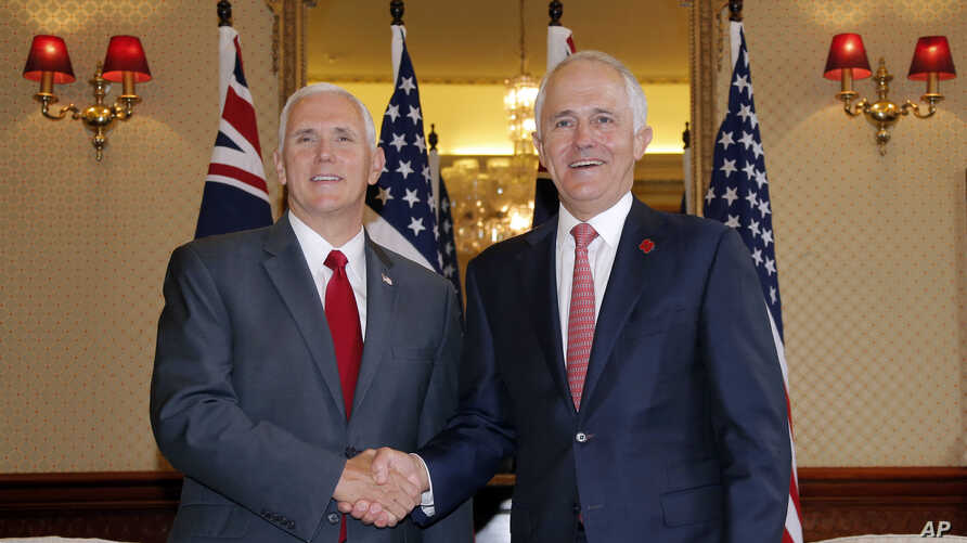 U.S. Vice President Mike Pence (left) shakes hands with Australia's Prime Minister Malcolm Turnbull at Admiralty House in Sydney, April 22, 2017.