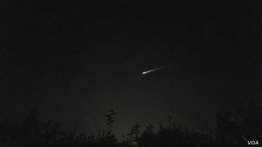 This picture of a fireball streaking across the sky was posted by Twitter user @k8tlynn27.