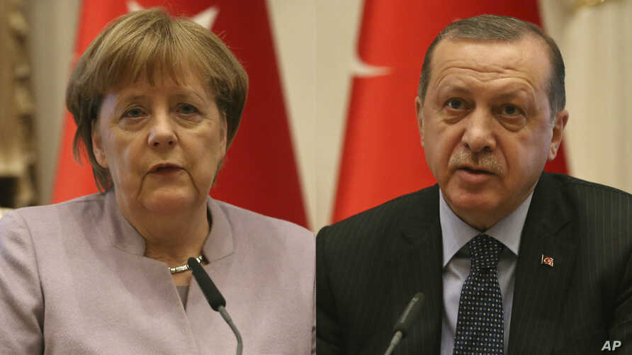 From left, German Chancellor Angela Merkel and Turkish President Recep Tayyip Erdogan.
