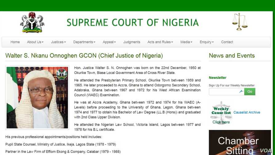 A portion of Chief Justice Walter Onnoghen's biographical