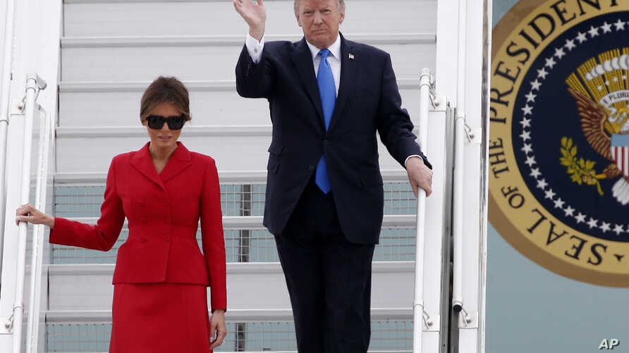 U.S President Donald Trump and first lady Melania arrive at Orly airport, south of Paris, July 13, 2017. Trump and his French counterpart, Emmanuel Macron, are looking to set aside differences on trade and climate change and find common ground as the