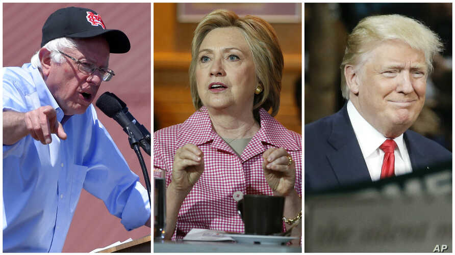 From left, Democratic presidential candidates Bernie Sanders, in Santa Maria, Calif., May 28, 2016, and Hillary Clinton, in Oakland, Calif., May 27, 2016, and presumptive Republican presidential candidate Donald Trump, in in Fresno, Calif., May 27, 2
