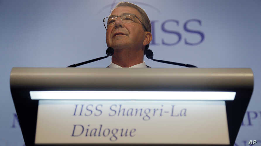 "U.S. Defense Secretary Ash Carter delivers a speech titled ""Meeting Asia's Complex Security Challenges"" at the 15th International Institute for Strategic Studies Shangri-la Dialogue, or IISS, Asia Security Summit, in Singapore, June 4, 2016."