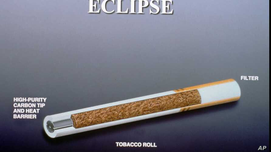 FILE - This is a diagram of R.J. Reynolds' Eclipse cigarette, which featured a carbon tip that was lit, heating the tobacco instead of burning it. The product did not do well during market tests; it was rebranded as Revo but still failed to catch on