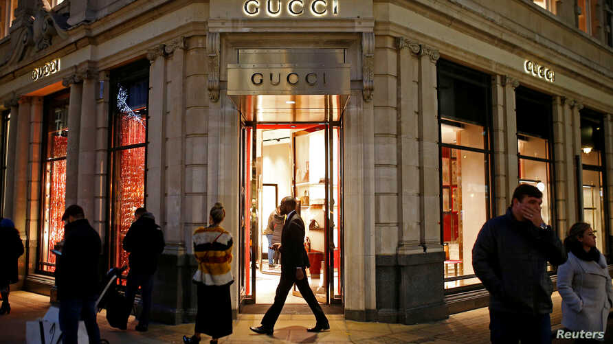 FILE - The Gucci store in central London, Dec. 16, 2018. Gucci says it will be working to build up its cultural awareness in light of the uproar to a sweater that resembled blackface.