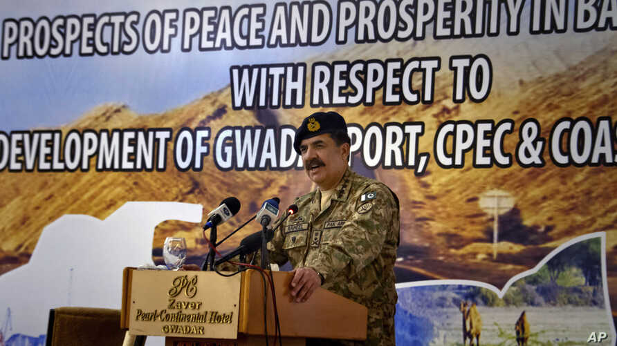 """FILE - Former Pakistan Army Chief General Raheel Sharif addresses the China-Pakistan Economic Corridor (CPEC) seminar in Gwadar, Pakistan. From Pakistan to Tanzania to Hungary, """"Belt and Road Initiative"""" projects are being canceled, renegotiated or ..."""