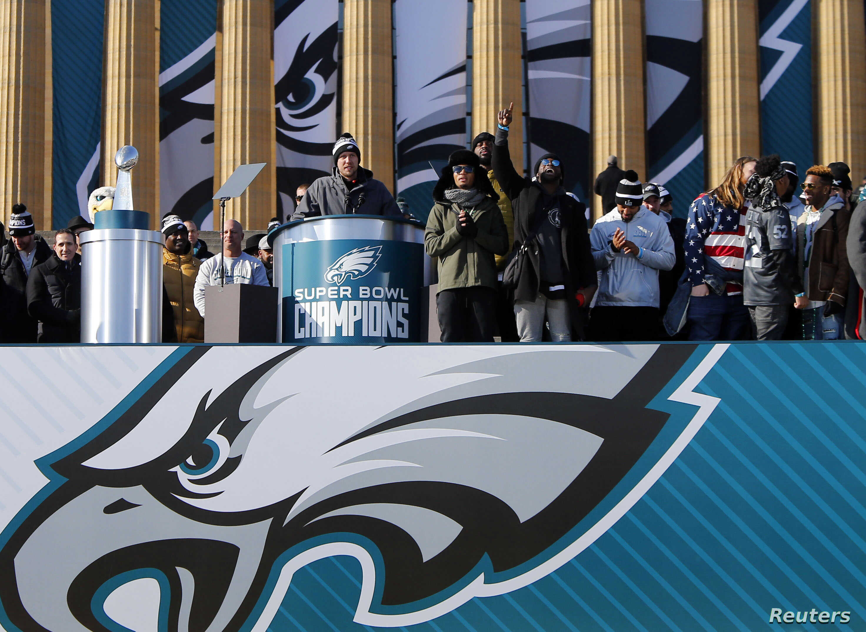 FILE - Philadelphia Eagles quarterback Nick Foles speaks to fans attending Super Bowl LII celebration at Philadelphia Art Museum, Feb 8, 2018. ( Noah K. Murray-USA TODAY Sports)