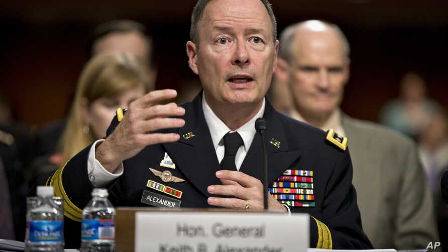 Gen. Keith B. Alexander, commander, U.S. Cyber Command and director, National Security Agency/Chief, Central Security Service testifies on Capitol Hill in Washington, June 12, 2013, before the Senate Appropriations Committee hearing.