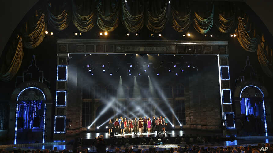 "The Marjory Stoneman Douglas High School drama department perform ""Seasons of Love"" at the 72nd annual Tony Awards at Radio City Music Hall on Sunday, June 10, 2018, in New York."