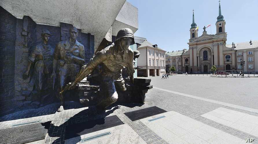 The monument to the heroes of the 1944 Warsaw Rising against the occupying Nazi Germans in Krasinski Square in Warsaw, Poland, June 22, 2017.
