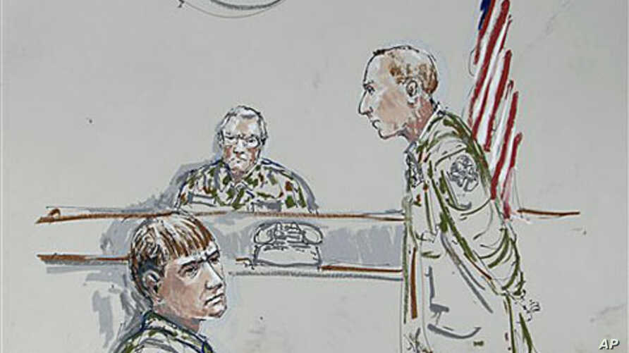 In this courtroom sketch, U.S. Army Cpl. Jeremy Morlock of Wasilla, Alaska, center, is shown as Col. Thomas Molloy, right, the investigating officer, and Morlock's attorney, Michael Waddington, left, look on, at Joint Base Lewis-McChord, Washington,