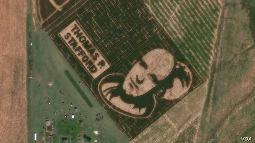 The corn maze featuring an image of astronaut Thomas P. Stafford was cut into a 10-acre field at P Bar Farms in Hydro, Oklahoma.