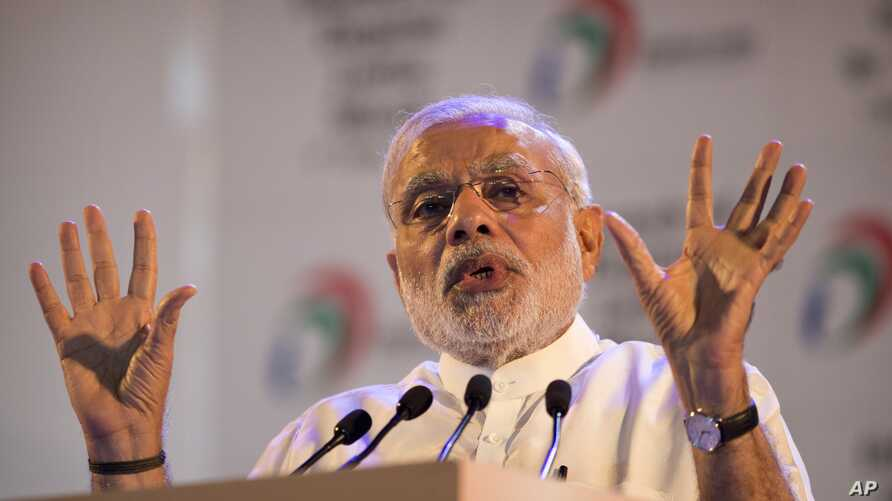 Indian Prime Minister Narendra Modi, addresses people during the launch of digital India project in New Delhi, India, July 1, 2015.