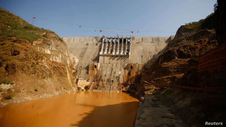 A view of the Gibe III hydroelectric dam during its inauguration in Shoma Yero village in Ethiopia, Dec. 17, 2016.