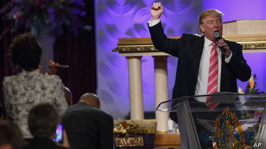 Republican presidential candidate Donald Trump speaks during a service at Great Faith Ministries International in Detroit, Sept. 3, 2016.
