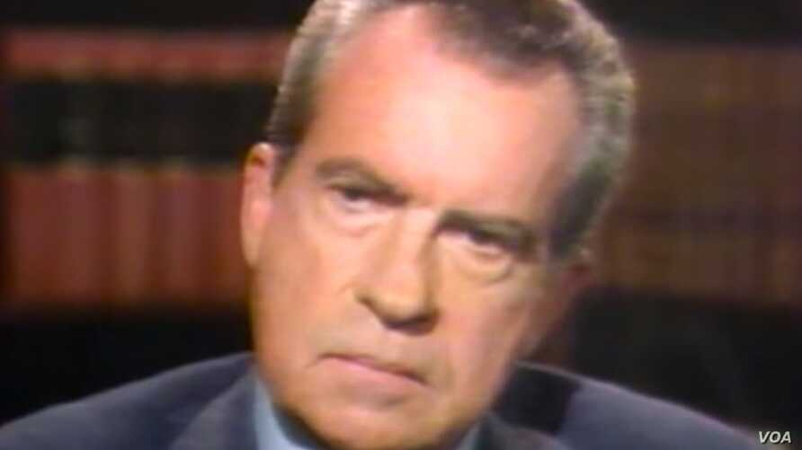 Former President Richard Nixon during his interview with Sir David Frost in 1977.