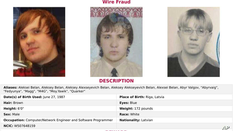 """This wanted poster provided by the FBI shows Alexsey Alexseyevich Belan, aka """"Magg,"""" 29, a Russian national and resident. The United States announced charges, March 15, 2017,  against two Russian intelligence officers and two hackers."""