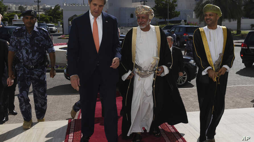 U.S. Secretary of State John Kerry, left, meets with the the Omani Minister Responsible for Foreign Affairs, Yusuf bin Alawi bin Abdullah, center, in Muscat, Oman, Nov. 14, 2016.