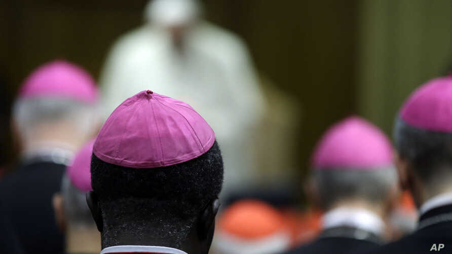 Prelates and Pope Francis attend a morning session of a two-week synod on family issues at the Vatican,  Oct. 13, 2014.