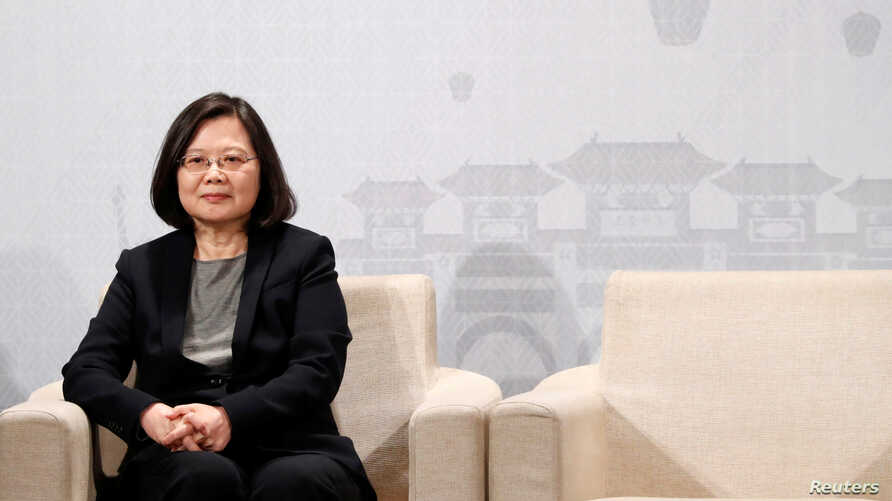 FILE - Taiwan's President Tsai Ing-wen attends American Chamber of Commerce (AmCham)'s yearly dinner event, in Taipei, Taiwan, March 21, 2018.
