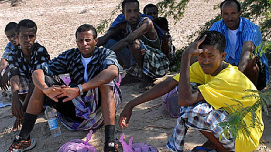 Ethiopian refugees rest in the shade of a desert tree near the southeastern Yemeni town of Ahwar, one day after they reached the Yemeni coast on smugglers boats, October 14, 2008 (file photo)