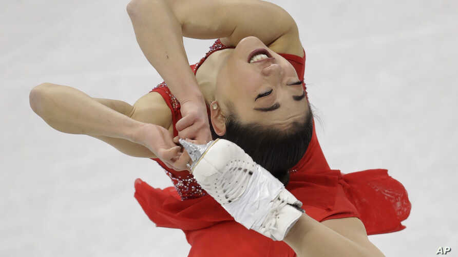 Mirai Nagasu of the United States performs in the ladies single skating free skating in the Gangneung Ice Arena at the 2018 Winter Olympics in Gangneung, South Korea, Feb. 12, 2018.