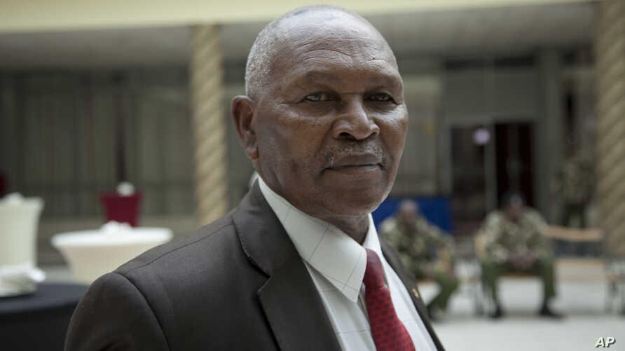 FILE - Kip Keino, head of Kenya's National Olympic Committee at the time, attends a meeting in Nairobi, Kenya, May 5, 2017.