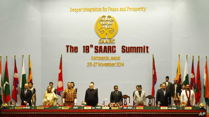 South Asian leaders, from left, Afghanistan President Ashraf Ghani, Bangladeshi prime Minister Sheikh Hasina, Bhutanese Prime Minister Tshering Tobgay, Indian Prime Minister Narendra Modi, Maldives President Abdulla Yameen, Nepalese Prime Minister Su