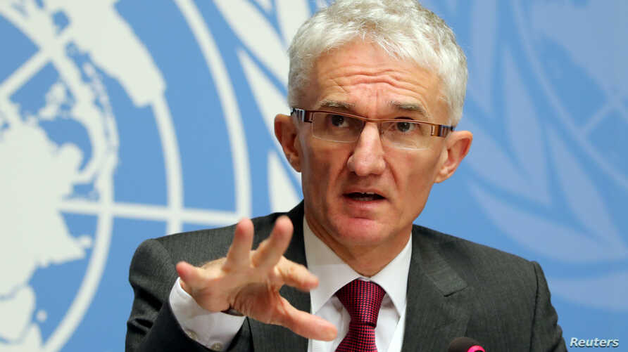 """U. N. Under-Secretary-General for Humanitarian Affairs and Emergency Relief Coordinator (OCHA) Mark Lowcock attends a news conference for the launch of the """"Global Humanitarian Overview 2019"""" at the United Nations in Geneva, Switzerland, Dec. 4, 2018..."""