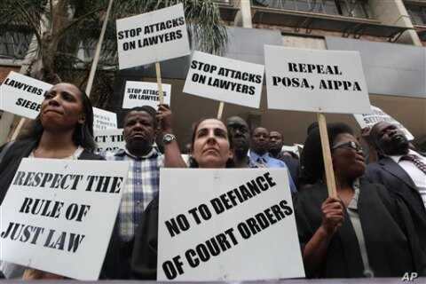 Zimbabwean lawyers march on the streets of Harare ahead of International Human Rights Day (File Photo)