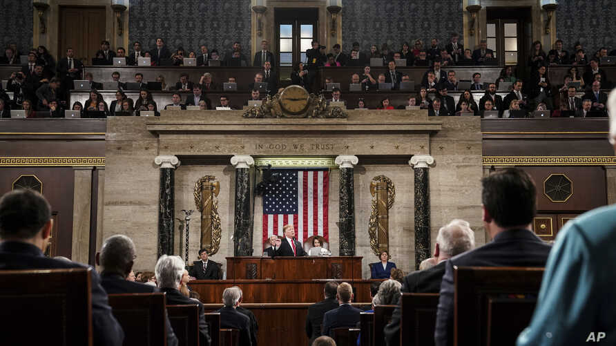 President Donald Trump gives his State of the Union address to a joint session of Congress at the Capitol in Washington, Feb. 5, 2019.