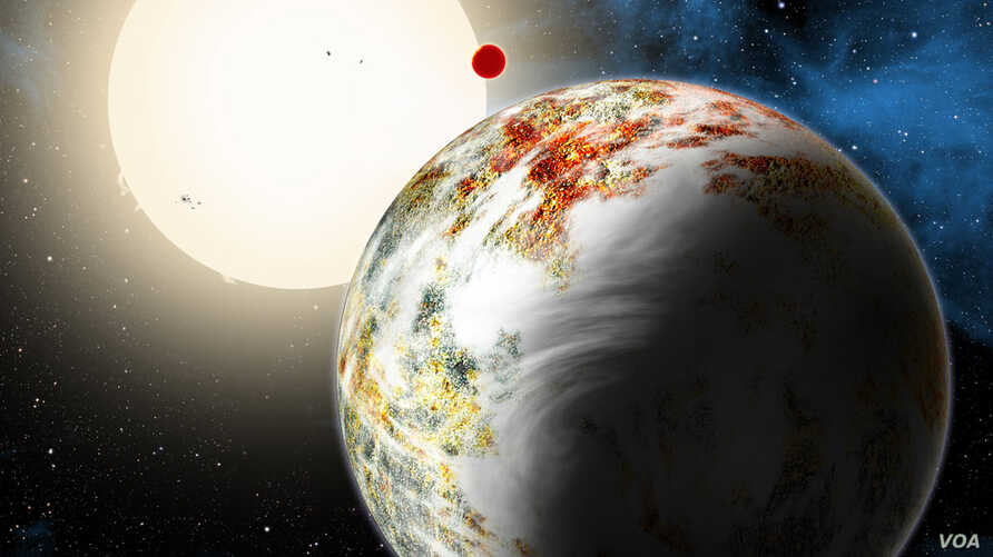 "The newly discovered ""mega-Earth"" Kepler-10c dominates the foreground in this artist's conception. (David A. Aguilar (CfA))"
