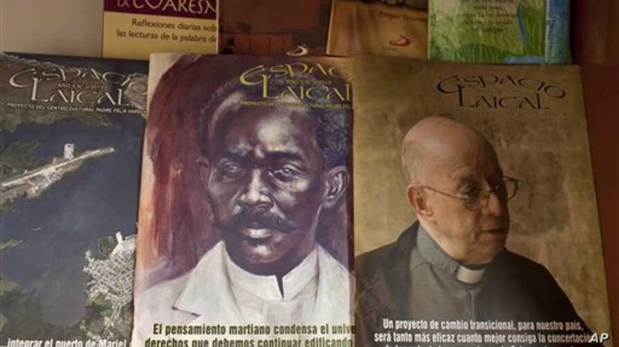 Issues of the Roman Catholic magazine Espacio Laical exhibited for sale in a small shop in Old Havana, Cuba, June 25, 2014.