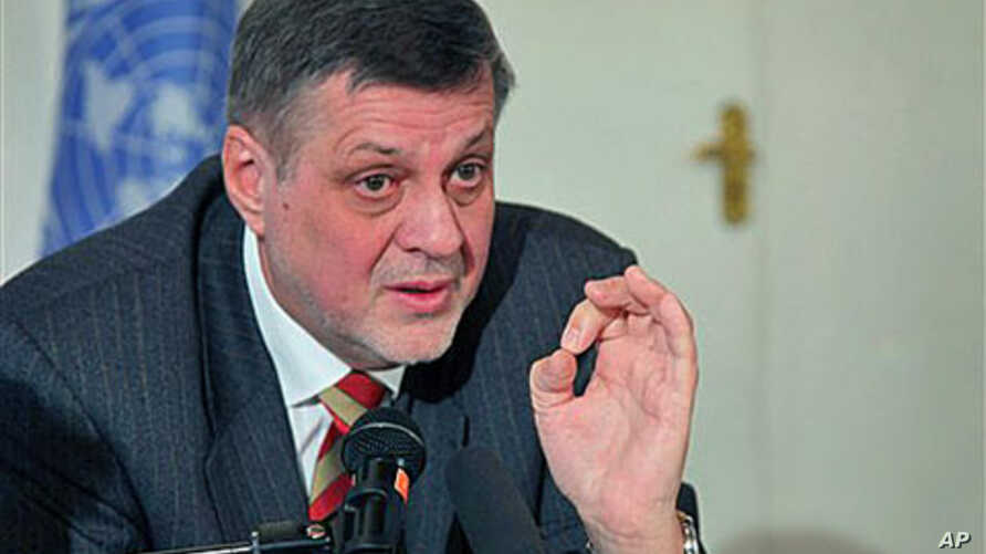Jan Kubis, the new special representative of the U.N. Secretary-General to Afghanistan, speaks during a press conference in Kabul, Afghanistan, January 25, 2012.