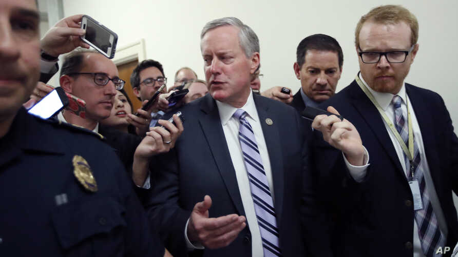 House Freedom Caucus Chairman Rep. Mark Meadows, R-N.C. speaks with the media on Capitol Hill in Washington, March 23, 2017, following a Freedom Caucus meeting.