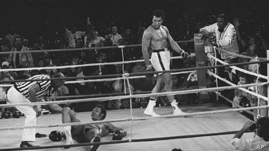 Referee Zack Clayton counts out George Foreman in eight round of this title bout with Muhammad Ali, in Kinshasa, Zaire. Oct. 30, 1974. (AP Photo/jab)