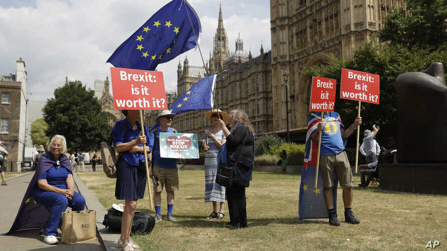 FILE - Anti-Brexit, EU supporters hold placards and European Union flags on Abingdon Green, backdropped by the Houses of Parliament in London, July 9, 2018.