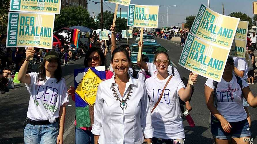 Phot shows Deb Haaland, candidate