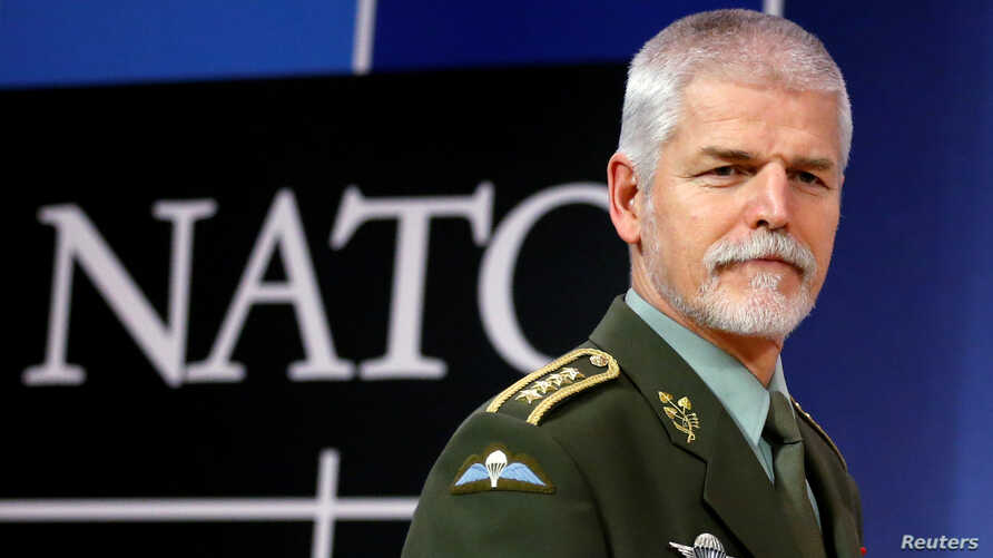 FILE - Chairman of the NATO Military Committee, Czech Army General Petr Pavel, arrives to address a news conference at the Alliance headquarters in Brussels, Belgium, Jan. 18, 2017.