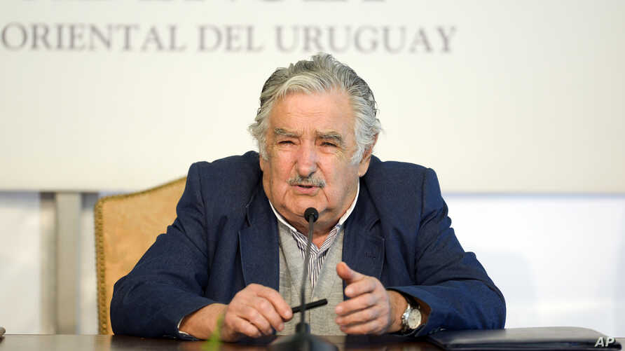 Uruguay's President Jose Mujica speaks during a news conference the presidential house Residencia de Suarez y Reyes, in Montevideo, Uruguay, Sept. 12, 2014.